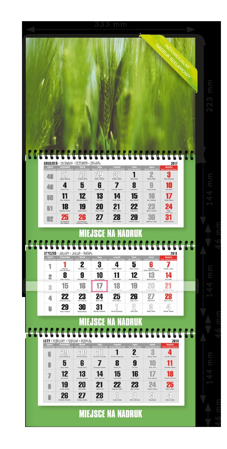Kalendarz ścienny Trójdzielny spiralowany