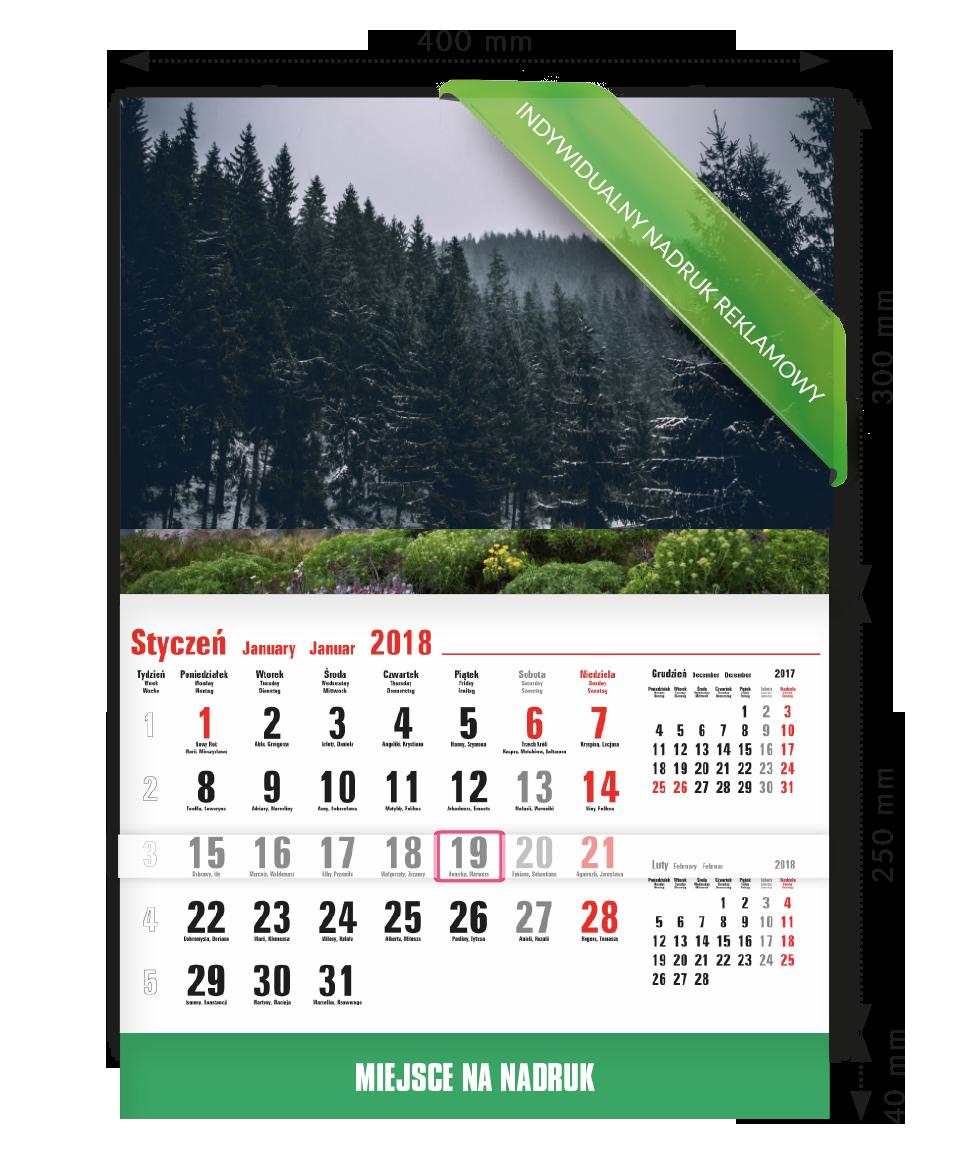 Kalendarz ścienny prosty