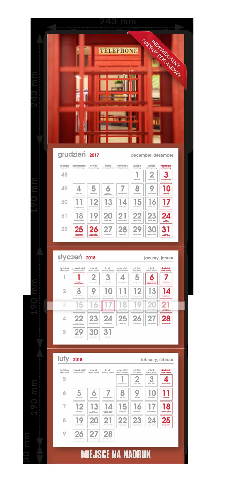 Kalendarz ścienny trójdzielny 6