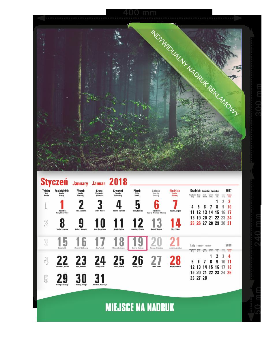 Kalendarz z wykrawaną falą